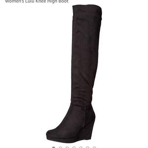 Chinese Laundry black over the knee wedge boots